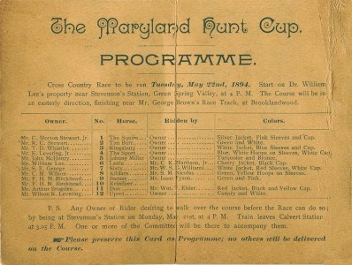 Program of the first Maryland Hunt Cup,