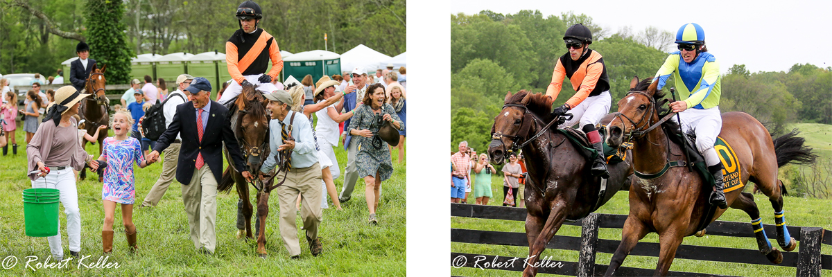 Derwins Prospector jumps the last with Drift Society (Ire) on his way to victory in the 2017 Md Hunt Cup and is greeted by his connections