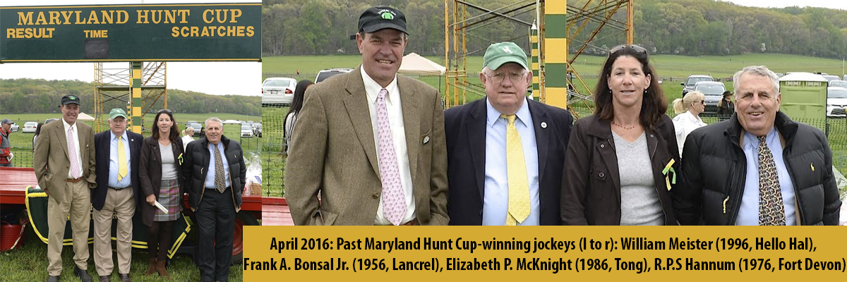 April 2016: Past Maryland Hunt Cup-winning jockeys (l to r): William Meister (1996, Hello Hal),